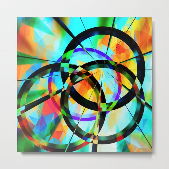 Polygons and Circles Metal Print