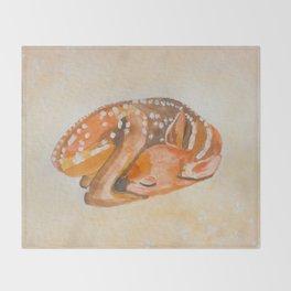 BABY DEER (FAWN - watercolor) Throw Blanket