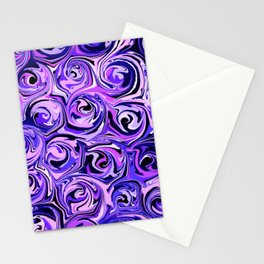 Violet and Lilac Paint Swirls Stationery Cards