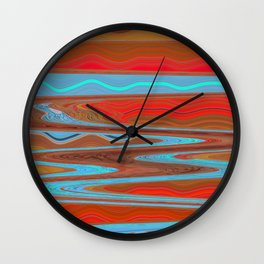 Abstract Retro Lava Water Deep Earth Landscape Wall Clock