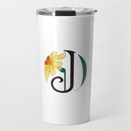 Ruby's Flower Initials - J Travel Mug