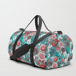 Vintage & Shabby Chic - Rose Blush & Teal Garden Flowers Duffle Bag