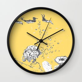 Two Tailed Duck and Jellyfish Pale Yellow Mellow Wall Clock