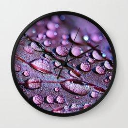 Water Drops On Leaf Wall Clock