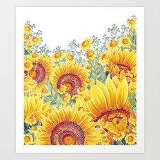 Vintage Garden 15 (Sunflower Field) Art Print