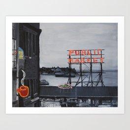 Pike Place Market - Black & White & Neon -Seattle Washginton Art Print
