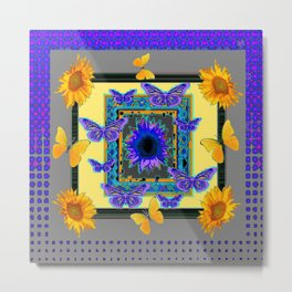 PURPLE-GREY BUTTERFLIES SUNFLOWERS MODERN ART Metal Print