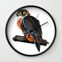 falcon Wall Clocks featuring Falcon by Gracie Illustration