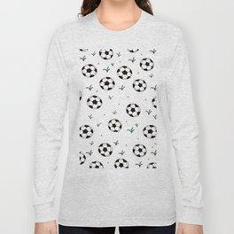 Fun grass and soccer ball sports illustration pattern Long Sleeve T-shirt