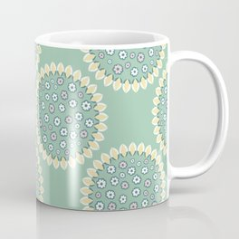 1950s Style Flower Polka Dots Seamless Pattern Coffee Mug