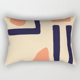 Coral and Blue Rectangular Pillow
