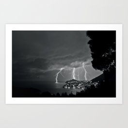 Lighting Storm on the coast, Adriatic Ocean black and white photograph Art Print
