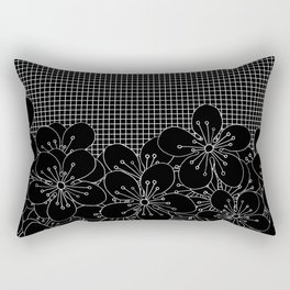 Cherry Blossom Grid Black Rectangular Pillow