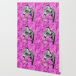 ZEBRA AND PINK FLOWERS and DRAGONFLIES Wallpaper