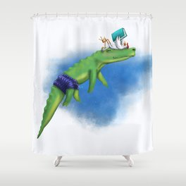 Story time with Unlikely Friends Kenny Croc and Sam the Storyteller Shower Curtain