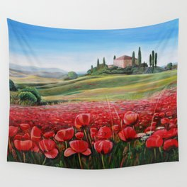 Italian Poppy Field Wall Tapestry