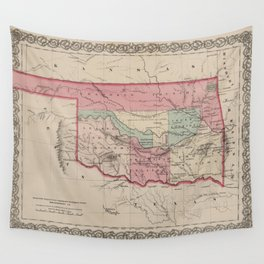 Vintage Map of Oklahoma (1869) Wall Tapestry