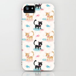 Cute Cats Eating Pet Food iPhone Case