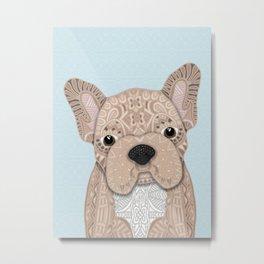 Beige Frenchie Puppy 001 Metal Print