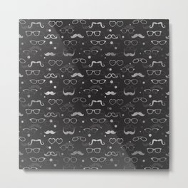 Hipster Elements Pattern silver on dark grey Metal Print