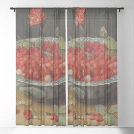 "Jacob van Hulsdonck ""Wild Strawberries and a Carnation in a Wan-Li Bowl"" Sheer Curtain"