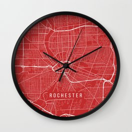 Rochester Map, USA - Red Wall Clock
