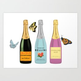 Butterflies and Bubbly-- Rose, Champagne, and Bellini Art Print