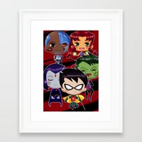 teen titans Framed Art Prints featuring Chibi Teen Titans by sambeawesome