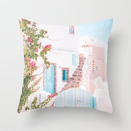 Santorini Greece Mamma Mia Pink House Travel Photography Throw Pillow