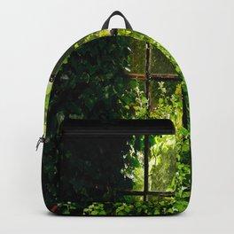 Green idyllic overgrown cottage garden window Backpack