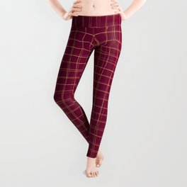 Threads of gold on dark magenta Leggings