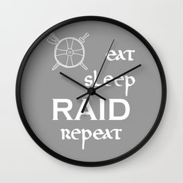 eat-sleep-RAID-repeat white, Vikings Wall Clock
