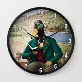 Monsieur Mallard Reading an Improving Book Wall Clock