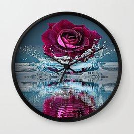 PURPLE ROSE FALLING IN  POND WATER Wall Clock