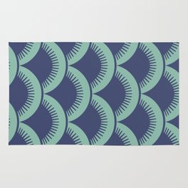 Japanese Fan Pattern Blue and Turquoise Rug