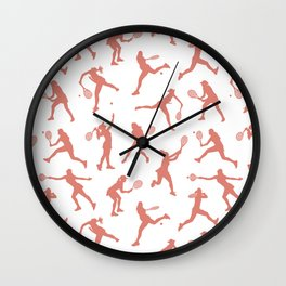 Rose Tennis Players Wall Clock
