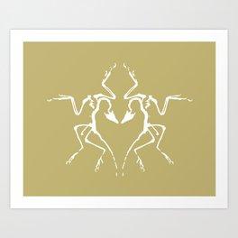 Dinosaur Fossil Ink Blot 2, Mustard Art Print