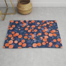Midnight Oranges | Blue Rug
