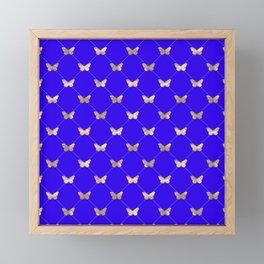 Golden flutterbye on cornflower. Framed Mini Art Print
