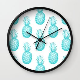 Teal Pineapple Wall Clock