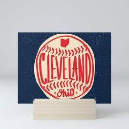 Hand Drawn Baseball for Cleveland Ohio with custom Lettering Mini Art Print