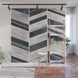 Shimmering Chevron Pattern - white pearl marble, silver and black Wall Mural