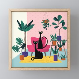Sleek Black Cats Rule In This Urban Jungle Framed Mini Art Print