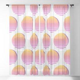 80s Gradient Retro Vaporwave Sun Sheer Curtain