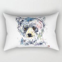 Baby Black Bear Watercolor Painting Rectangular Pillow
