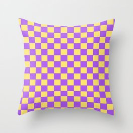 Checkers - Purple and Yellow Throw Pillow