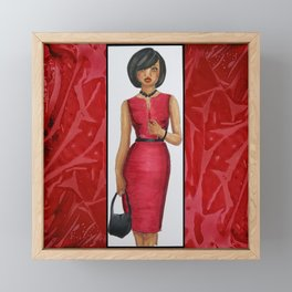 The Woman In Red Framed Mini Art Print
