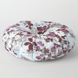 Boho burgundy white pastel marble floral pattern Floor Pillow