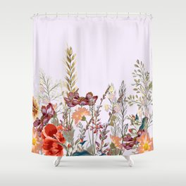 Spring field pattern with poppy and cosmos flowers Shower Curtain