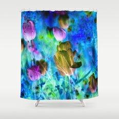 Blue Ocean of Tulips Shower Curtain